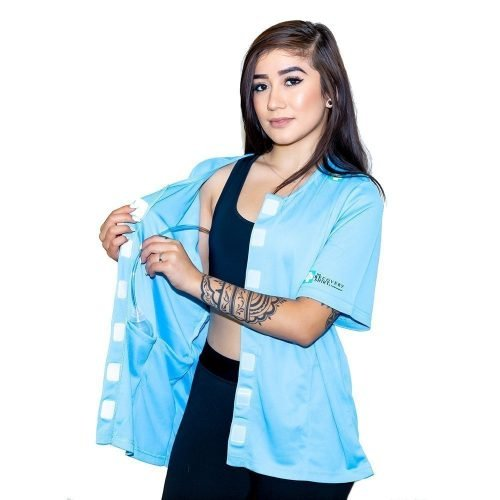 blue mastectomy shirts with drain pockets