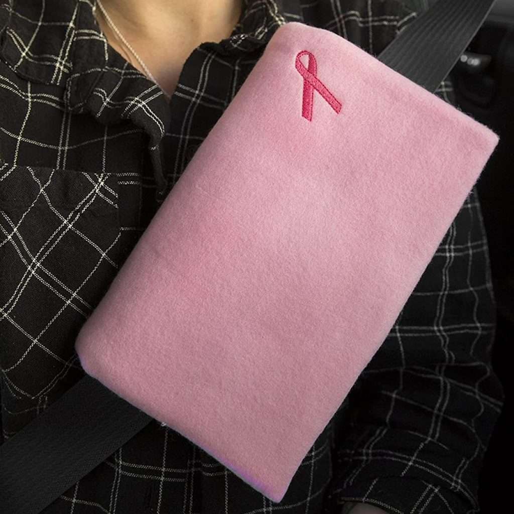 Mastectomy Recovery Seatbelt Cushion (Solid Pink/Ribbon)